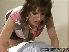 Posh mature brit sucks cock