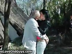 Horny grandpa loves to... video