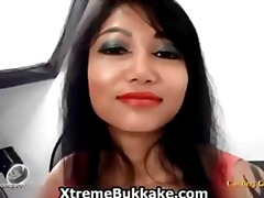 Asian slut in her sexy outfit dances part1