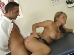 Hot naked blonde chick on the hospital bed gets her sweet pussy fucked