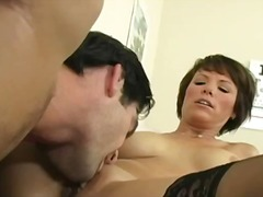 Mature brunette slut on a hospital bed gets her pussy licked