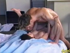 Flexible hairy box slut fucked in her...