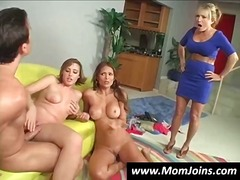 Two-girl and one guy threesome turns into a four-way with the addition of a hot MILF