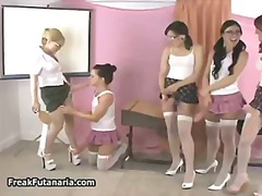 Five schoolgirls in sexy skirts lovin...
