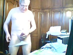 Mature jerking off on the table
