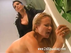 Spanked Lesbian Blonde Pussy