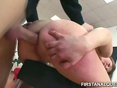 Popping her anal cherry