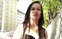 Sexy young Czech redhead is paid to strip down and fuck in public