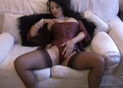 stockings, brunette, milf,
