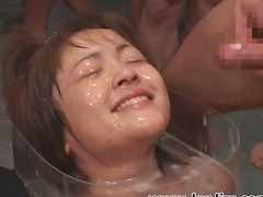 Covered in hot sticky cum, a young sk...