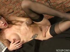 shemale, mature, stockings, blowjob,
