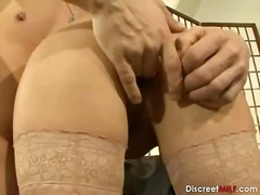stockings, milf, blonde, mom, suck,