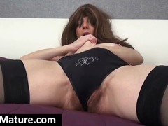 granny, nylon, bedroom, hairy, reality, cougar, masturbating, milf, mature, pussy, brunette, amateur