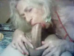 Mature tranny swallows big cock