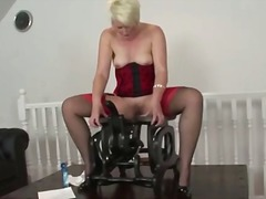 lingerie, nylon, hardcore, toys, masturbation, machine, mature, british, blonde
