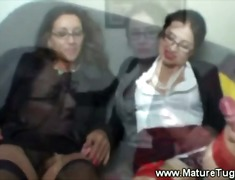 Two mature office ladies get hot at work