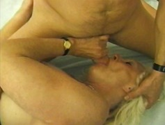 Lusty granny lets him face sit as she...
