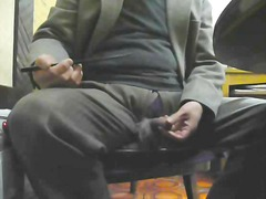 Solo mature jerking off on the chair