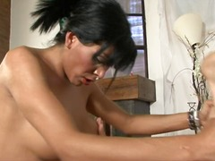 mature, brunette, shemale, blowjob,