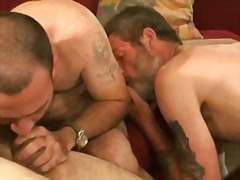 threesome, blowjob, tattoo, mature,