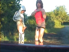 mature, crossdresser, outdoor,