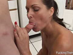 oral, blowjob, mom, brunette