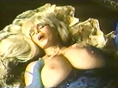 Busty vintage blonde solo masturbating
