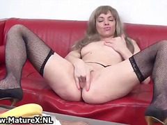 Horny mature in black stockings loves part1