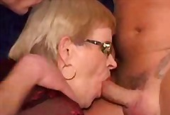 Dirty granny pleases two shlongs