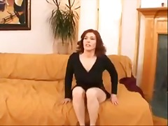 Curvy fake tits redhead dance and strip