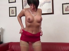 masturbation, solo, amateur, milf, older, nylon, dildo, brunette, mature, stockings, wife