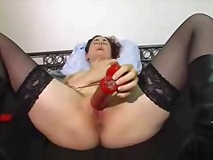 stockings, milf, masturbation, solo