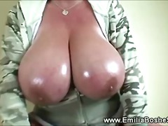 Naughty huge titted bl...