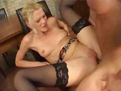 milf, blonde, stockings, ass, anal
