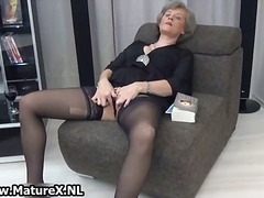 masturbation, wife, dildo, solo, granny, older, stockings, amateur, nylon, mature