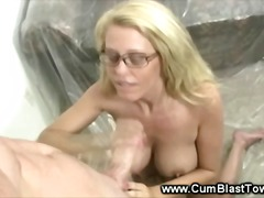 jerking, tugjob, jizz, blonde