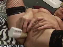 mature, stockings, masturbation,