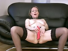 stockings, dildo, solo, mom,