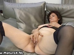 granny, solo, amateur, mature, older, nylon, dildo, brunette, masturbation, stockings, wife