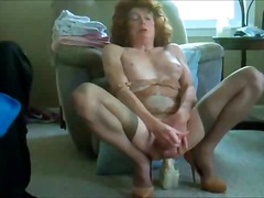 stockings, masturbation, mature