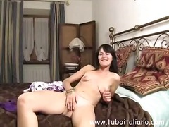 Cutie Italian housewife gets naked, t...