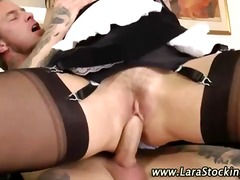 brunette, stockings, blowjob, milf