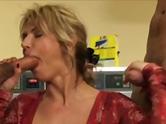 mom, cum, clothed, 3some, wife, blonde, threesome, public