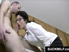 glasses, sucking, kitchen, brunette, blowjob, cougar, mom, milf