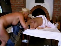 Big tits blonde granny loves sucking ...