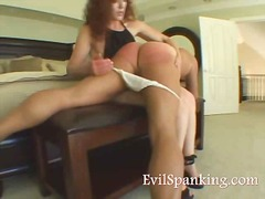 Milf spanking husband ass hard