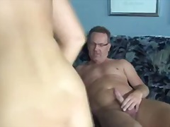 Fat mature gives her m...