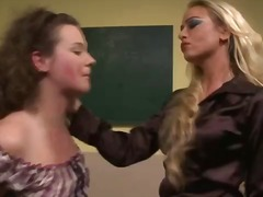 Femdom teacher sucks student nipples in classroom