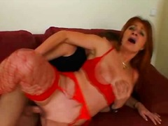 Hot 60 plus in red lingerie fucked