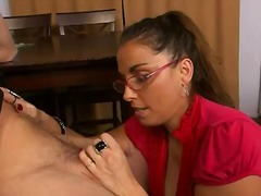 glasses, blowjob, mature, handjob,